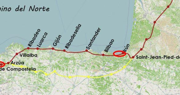 Camino del Norte: van Irún naar Santiago (klik op kaart om naar blog te gaan)