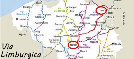 Via Limburgica: van Thorn naar Namen (klik op kaart om naar blog te gaan)